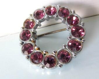 vintage round brooch, vintage pink brooch, rhinestone brooch, purple brooch, purple pin, purple brooch, gift for women, women's scarf brooch