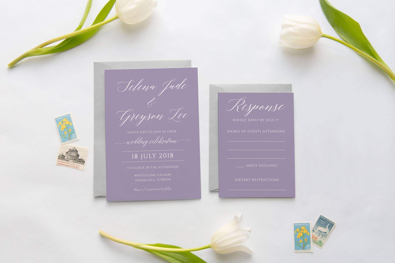Lavender Wedding Invitation Purple Wedding Invitation Modern