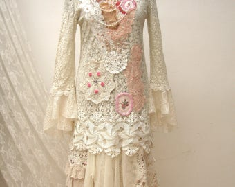 Shabby chic retro dress, lace romantic dress, upcycled clothing, boho reworked dress, vintage lace dress