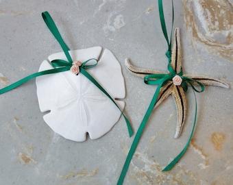 Florida Sand Dollar & Starfish Beach Wedding Ornaments Tree or Wall Hangings Tropical Beach Country Decor Green Ribbon Pink Roses
