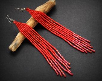 Long red seed bead earrings Red beaded earrings Long red earrings for women Beaded fringe tassel earrings Boho style earrings Summer earring