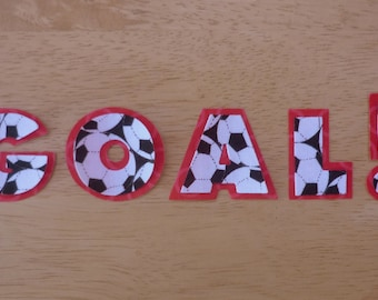 Goal,  2 piece layered Iron on fabric applique set - uppercase fabric iron on letters, made to order, choose your own fabrics, ships from UK
