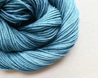 BLUEFIN hand dyed yarn fingering sock dk bulky yarn super wash merino wool yarn single or ply. choose your base. medium teal blue yarn