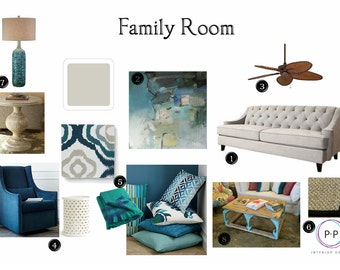 Family Room Package: Online Interior Design Service, E Design Services,  Moodboard, Interior Decorating, Interior Designer, Design Services