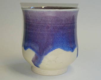 Purple Blue and White Cups - Wheel Thrown Pottery - Ceramic Juice Glass - Small Tumbler