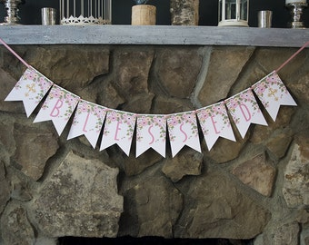 Confirmation Decor, Baptism Decoration, First Communion Decor, Christening Sign, Blessed Banner, P116