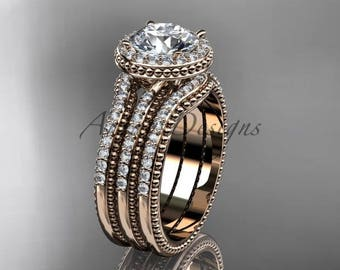 Double band engagement ring Moissanite center stone 14kt rose gold unique vintage diamond halo wedding set ADER95S