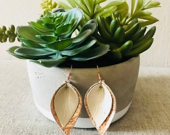 Cream and Rose Gold Layered Pinched Petal Earrings
