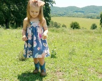 Ready to ship:  Floral print sundress sizes 6m-6year, toddler sundress, girls sundress, summer dresses, sundresses