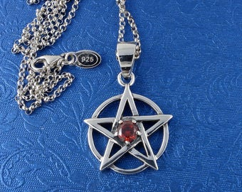 """Pentagram With Red Gem Pendant Charm, Solid Sterling Silver, Sterling Silver Chain, 16"""" Free Shipping!"""