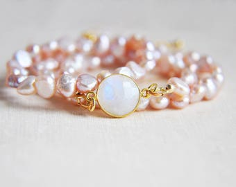 Moonstone Necklace, Pearl Necklace, Pink Pearl Necklace, Short Necklace, Gifts for Mom, Gifts for Her, Natural Stone,Pink Necklace,Boho Chic