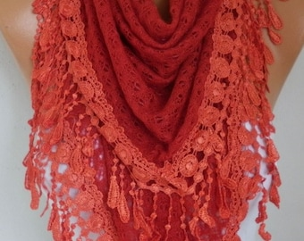 Valentine's Gift,Red Knitted Lace Scarf, Shawl, Winter Scarf,Cowl Bridesmaid Bridal Accessories Gift Ideas For Her,Women Fashion Accessories
