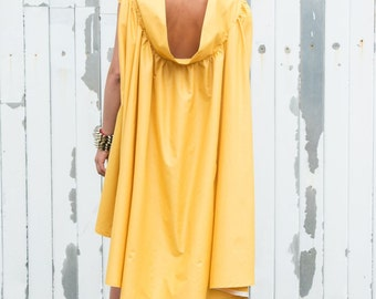 Yellow Maxi Dress/Asymmetric Summer Dress/Mustard Casual Dress/Long Tunic Dress/Maxi Dress/Oversize Tunic Top/Loose Short Dress/Casual Tunic