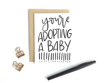 Adoption Card - You're Adopting A Baby!!!!! | Adoption Card, New Baby Card, Baby Card, New Parents Card, Hand Lettering