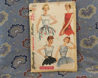 "Simplicity vintage 50s blouse pattern size 12, bust 30"""