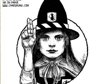 Halloween Saints Series 2: Mildred Hubble Original Ink Art