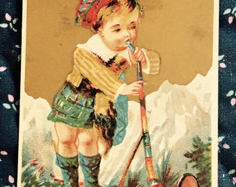 Victorian Trade Card 1800s, Little Boy Playing A Alphorn, Buttons Raven Gloss Shoe Dressing, Antique Paper Collectible