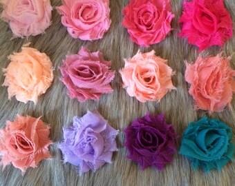20 pieces Mini Single Shabby Flower - You Pick color- Baby Girl Headbands - Baby headbands -Baby Bow Headband - Shabby Chic Flower