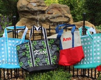 SALE- While they last---- Large Monogrammed Tote Bag/ Beach Bag /Great Gift Idea for Brides/ Bridesmaids/Diaper/ Extra Large Bag!