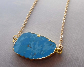 Turquoise Slab Necklace /Natural Gold-edged Turquoise / December Birthday Gift / Blue Gold Slab Necklace/Blue Wedding/ Beach Wedding//GR12