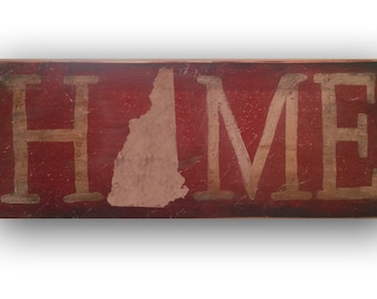 """NEW HAMPSHIRE Home State Wooden Sign, Specify state: all 50 are available, 18""""x7"""", Hand painted, Original Artwork, Made in the USA."""