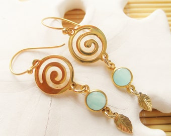 GP Swirl with a Vermeil Aqua Chalcedony bezel  and GF leaf drop earrings
