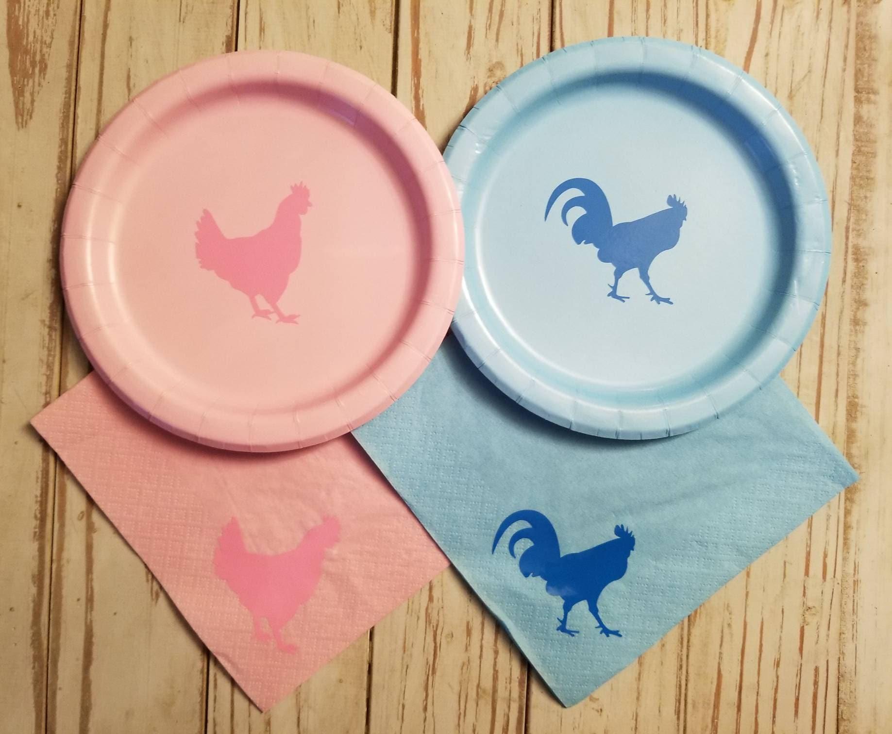 Hen or rooster gender reveal plates cups napkins rooster