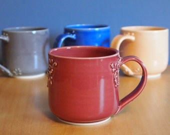 mug with scrolls in Wine