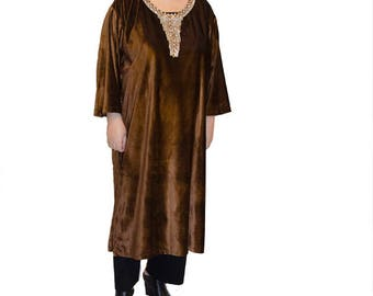 Brown velvet caftan