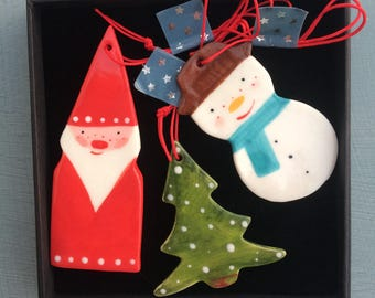 Christmas Tree Decoration set.Snowman,Father Christmas & Christmas Tree Hanging Porcelain Decorations.Handmade ceramic Christmas decoration/