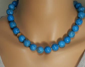 Stone Necklace - Turquoise Howlite Necklace - Blue Stone Necklace - Vermeil - Big Bold Necklace