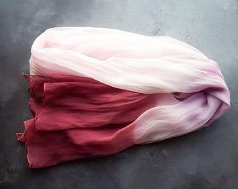 Hand dyed silk scarf | silk chiffon scarf | ombre silk scarf | degrade silk scarf | blush burgundy silk scarf | wedding scarf
