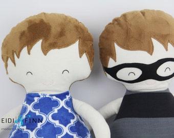 NEW Pillow dolls BRUNETTE BOYS keepsake gift ooak ready to ship