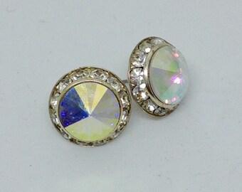 Vintage earrings aurora borealis crystals clear rhinestones stud earrings