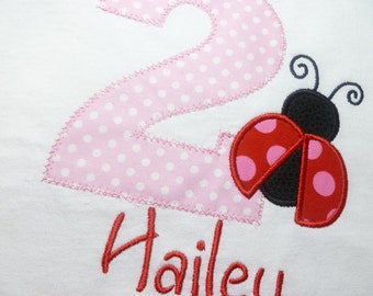 Girls Birthday Shirt, Custom, Personalized with number, Ladybug and Name