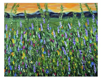 Fine Art, Mountain Twilight, Impressionism Flower Field, STRETCHED canvas Print, Wildflower Wall Art, Large Painting