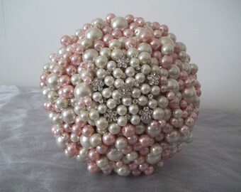 Wedding Bouquet. Romantic Pink and Ivory Pearl Bouquet.