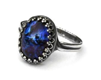 Galaxy Opal Ring - Blue Dragon Breath
