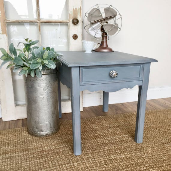 Blue End Table - Shabby Chic Side Table - Coastal Furniture - Distressed Furniture - Vintage Furniture - Blue Nightstand - Living Room Table