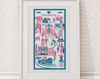 Winchester Print | City illustration | Winchester illustration | City print | Wall art | Winchester Cathedral | Travel print | Travel poster