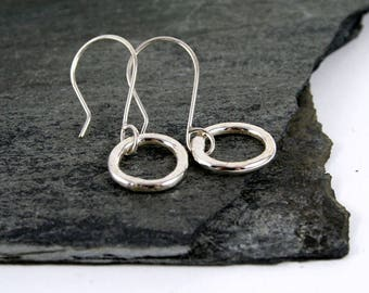 Rustic Sterling Silver Circle Drop Earrings Oxidized or Polished