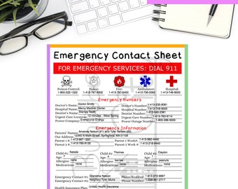 Emergency Contact Sheet - Printable and Fillable PDF Form