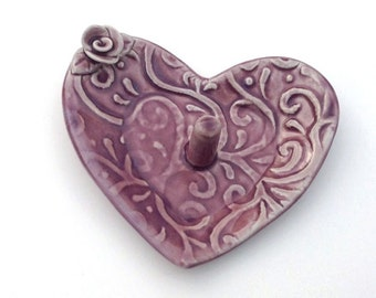 """Ring Dish // Heart ring bowl // Trinket Dish Lavender Purple with Rose and Vine   3.5"""" x 3.5"""""""