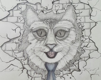 Art Drawing Cat In The Wall Drawing, Pencil Drawing, Surreal Art