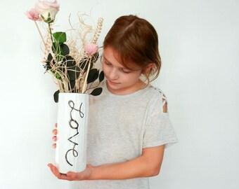 White Cursive Love Vase / white vase /  white home decor / love home decor /  white house decoration