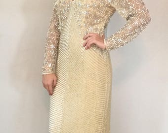 VTG Naeem Kahn Beaded Gown with Front and Back Keyhole