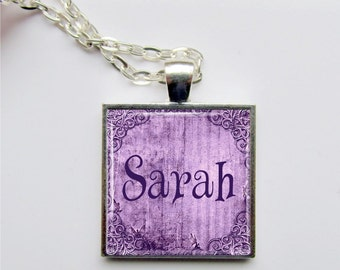 Personalized Name Pendant, Name Jewelry, Custom Necklace, Purple, Lavender