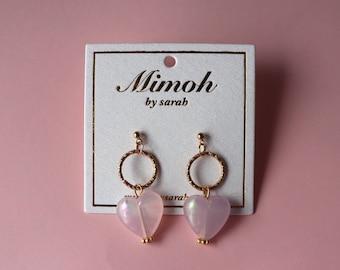 Pink Heart Beads Earrings
