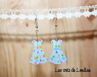 Starry blue origami dress Stud Earrings