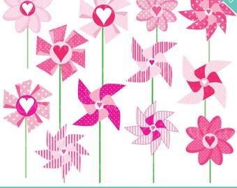 Valentine Pinwheels Cute Digital Clipart - Commercial Use OK- Valentine Clipart, Valentine Graphics, Pinwheels